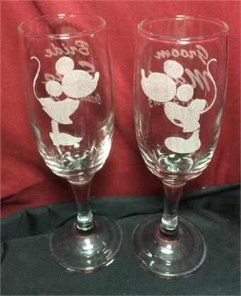 Mickey And Minnie Wedding Toast Flutes Engraved With Your Names Date Order