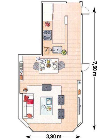 Ideas con planos para integrar la cocina en el sal n for Planos para una cocina
