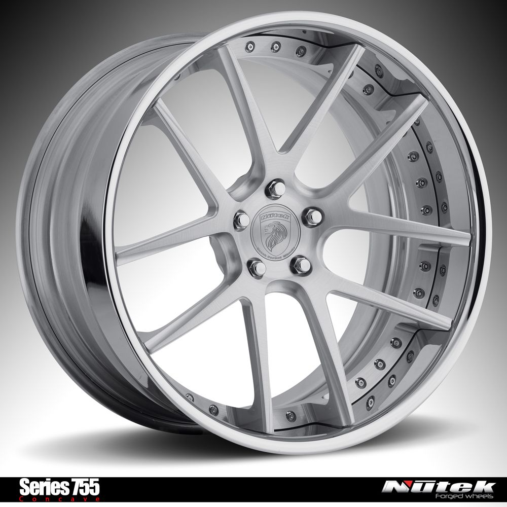 Nutek forged wheels series 755 concave aluminum brushed