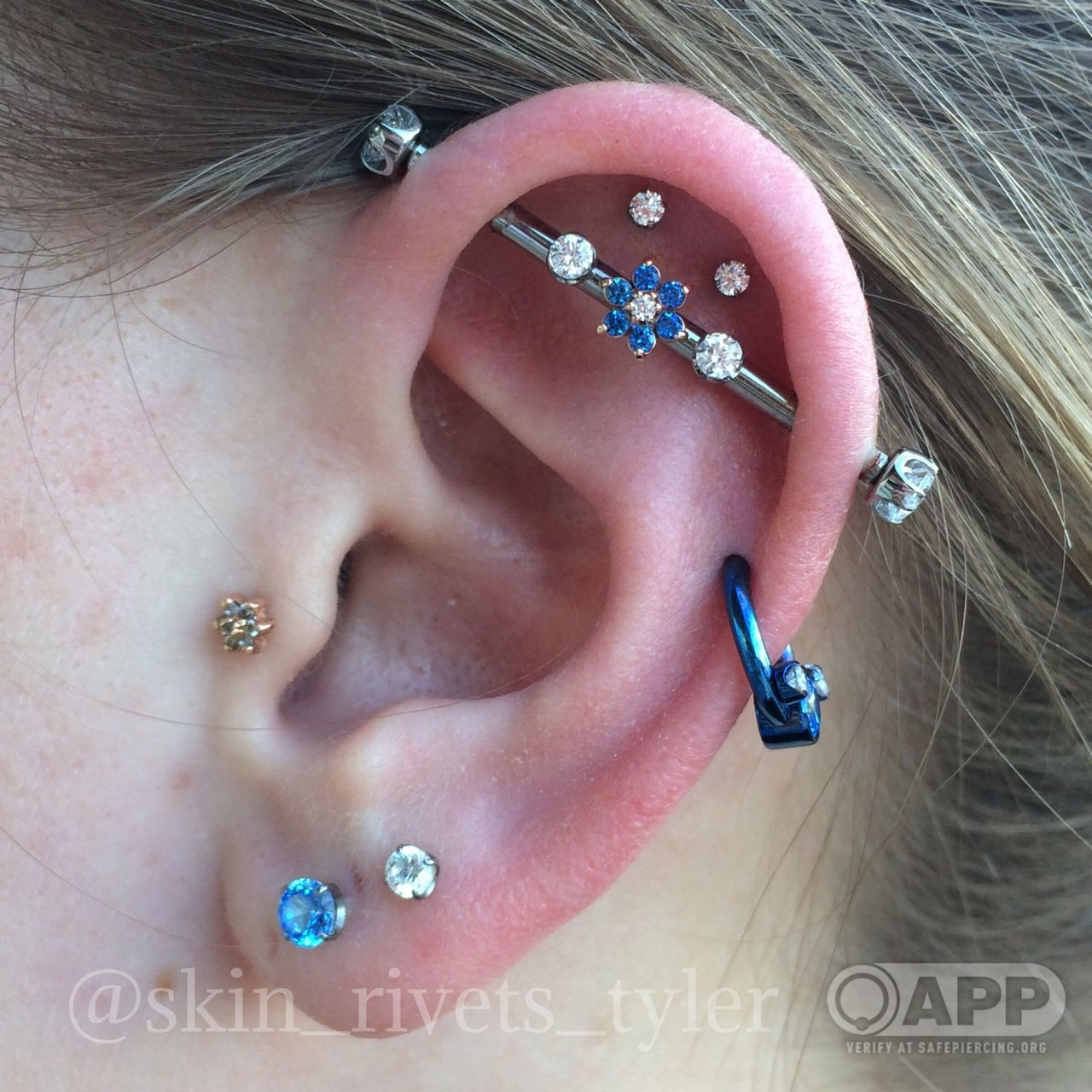 Tragus, Double Outer Conch, Helix, Industrial And Lobe Piercings