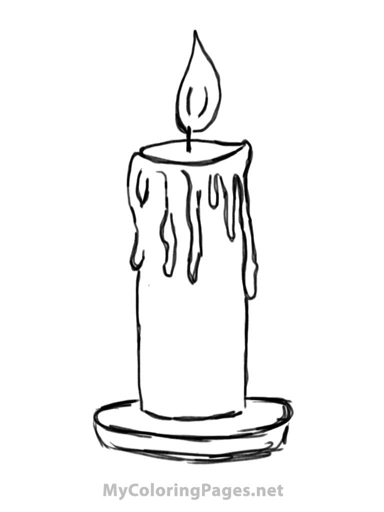 Candle Coloring Pages Printable Sheen ش Shamah شمعة Colorful