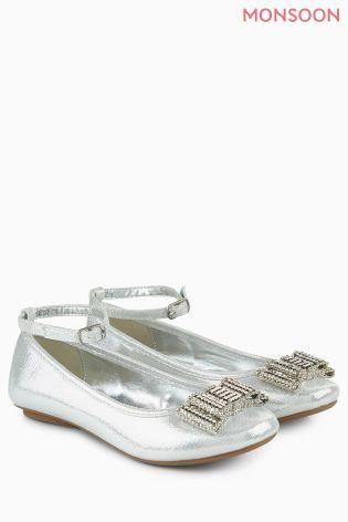 Monsoon Silver Bow Ballerina Shoe