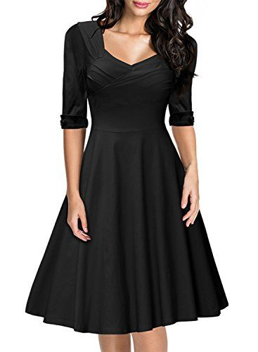 da093847bf7a Miusol Women's Retro V-Neck Half Sleeve Bridesmaid Party Swing Dress ***  Additional details @
