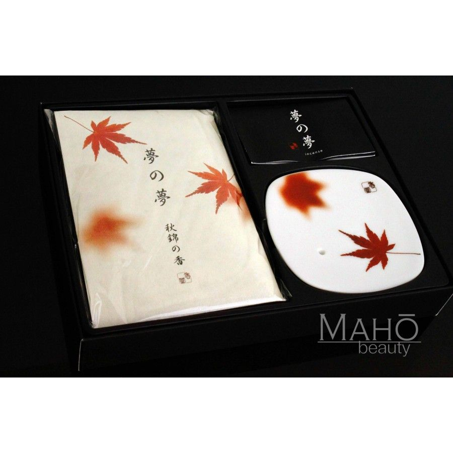 "Gorgeous gift set of Natural Japanese Temple Incense Sticks and adorable incense stand: ""Autumn Nishiki"" (あきにしき)"