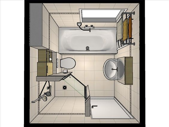 Badkamer Modern Klein : Idee voor de indeling van een kleine badkamer door onze