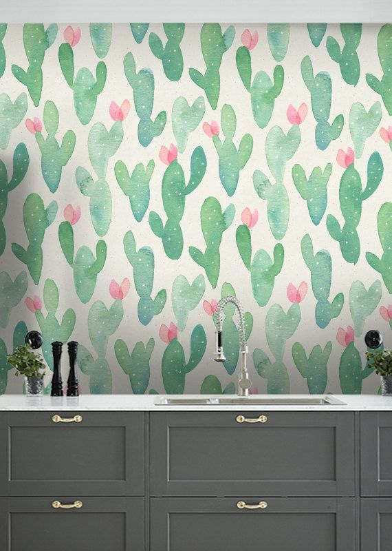 Acuarela Papel Pintado Cactus Cactus Extraible Wallpaper Cactus