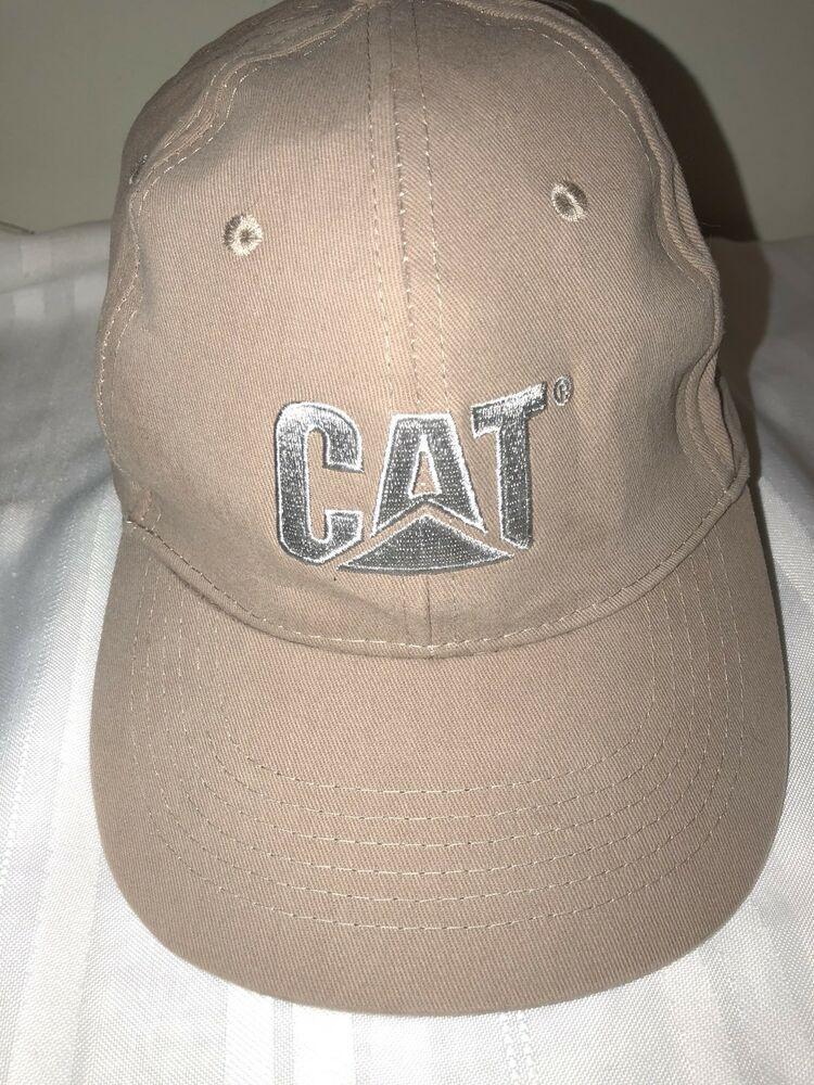 Caterpillar construction hat adjustable back strap tan