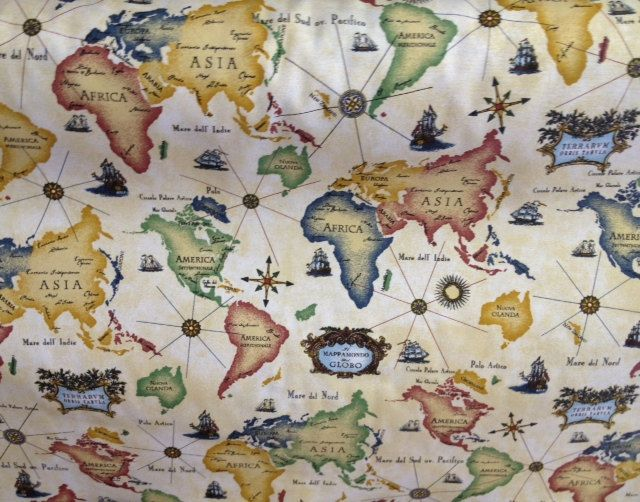 World Map Fabric by the yard  Map fabric Yards and Fabrics