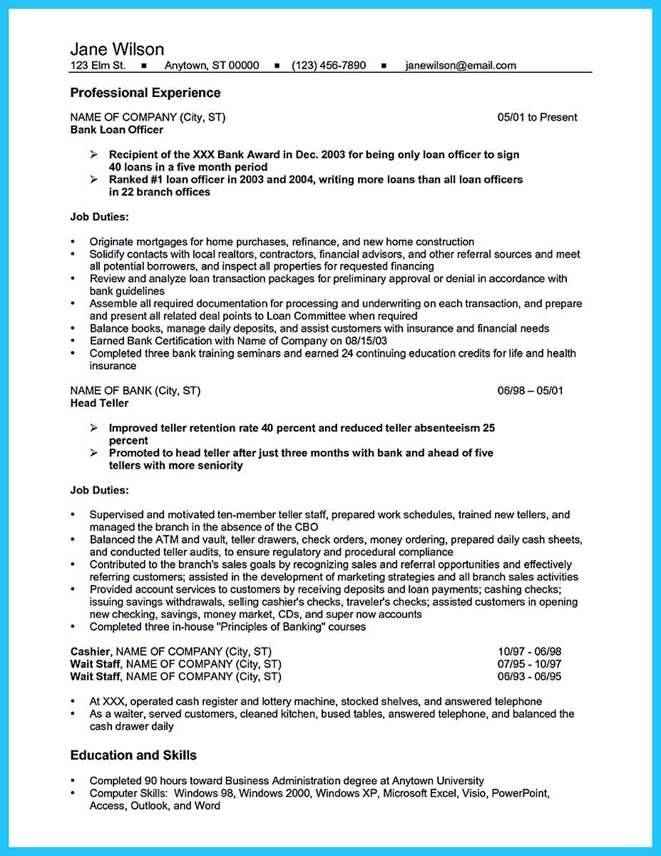 awesome One of Recommended Banking Resume Examples to Learn, Check ...