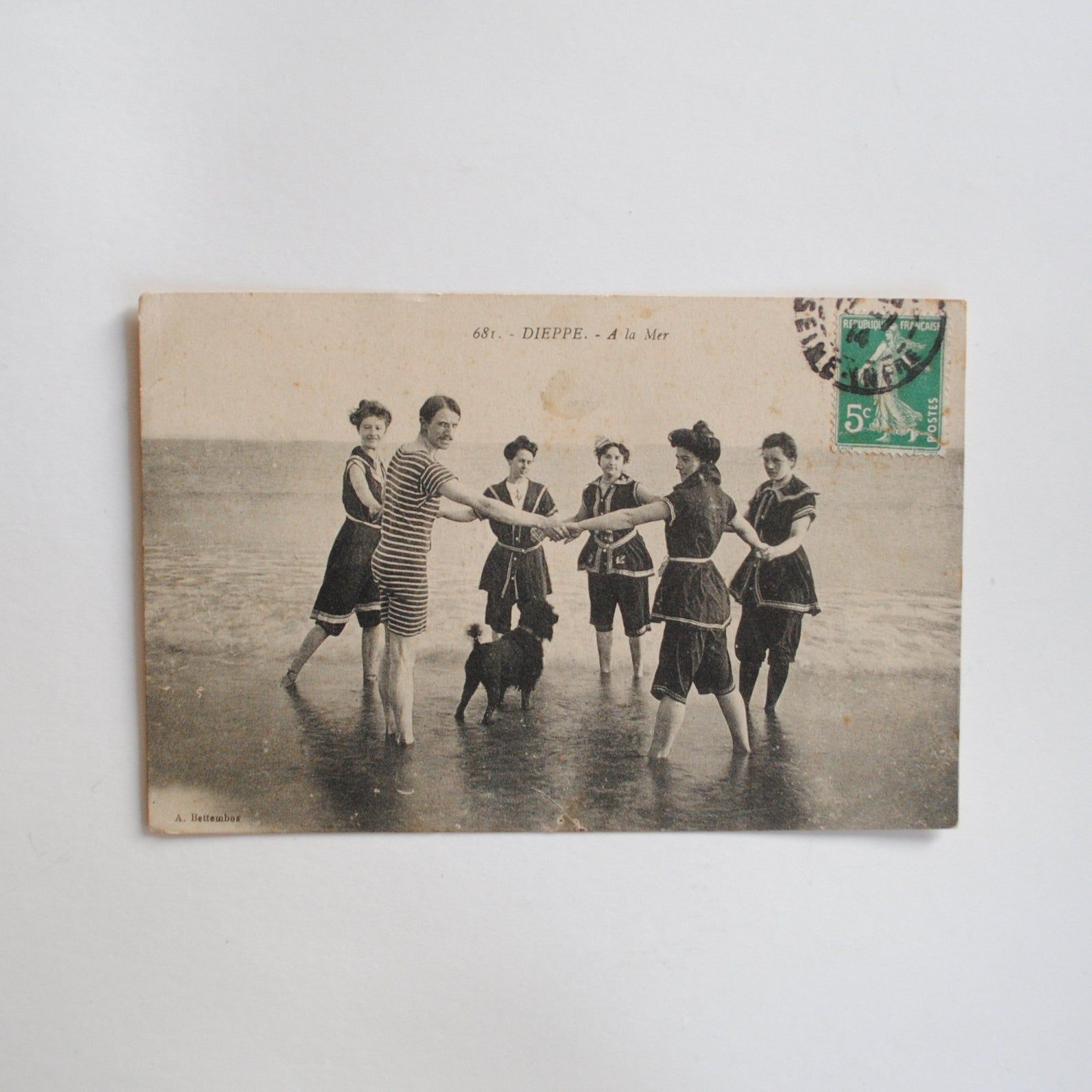 Family at sea in 1910swimsuits 1910sold beachdecorating