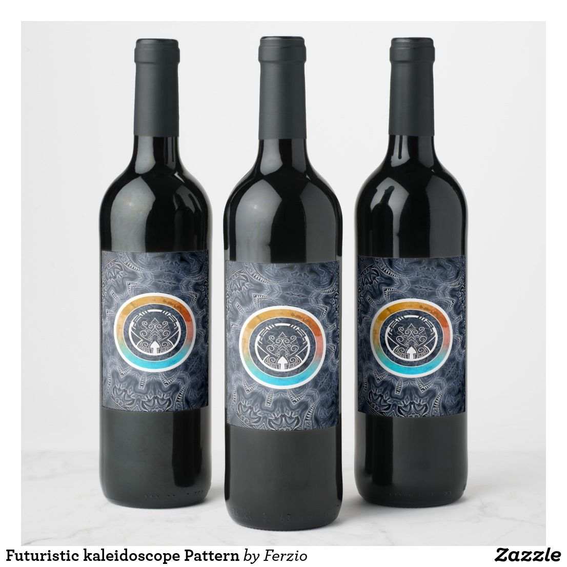 Futuristic Kaleidoscope Pattern Wine Label Champagne Label Wine Champagne Bottle Labels