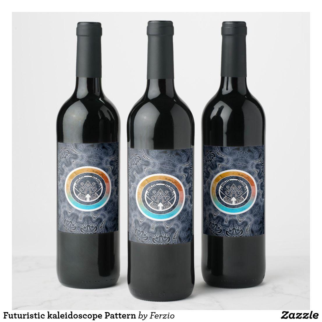 Futuristic Kaleidoscope Pattern Wine Label Champagne Label Wine Champagne Bottle Labels