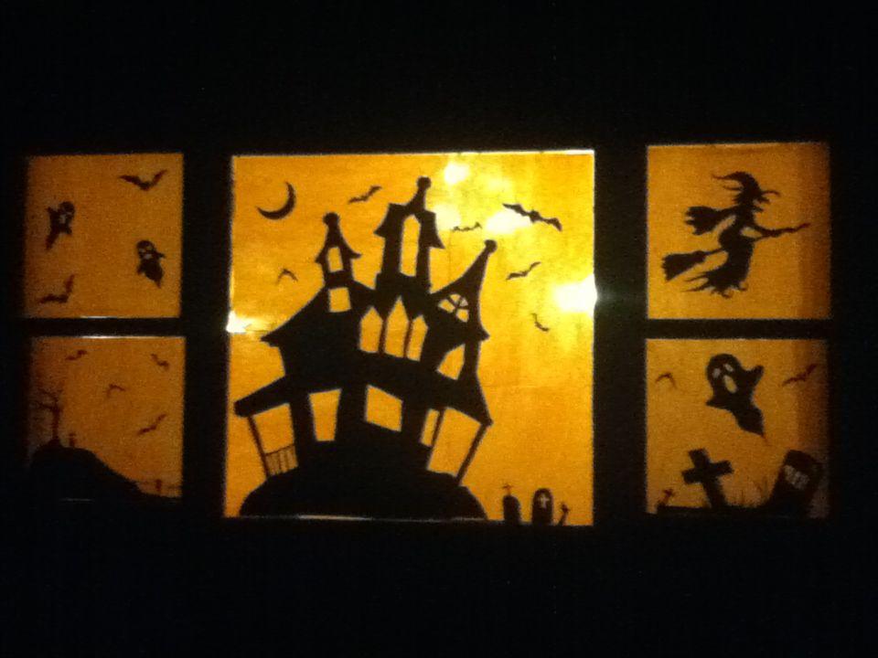 halloween window decoration silhouettes
