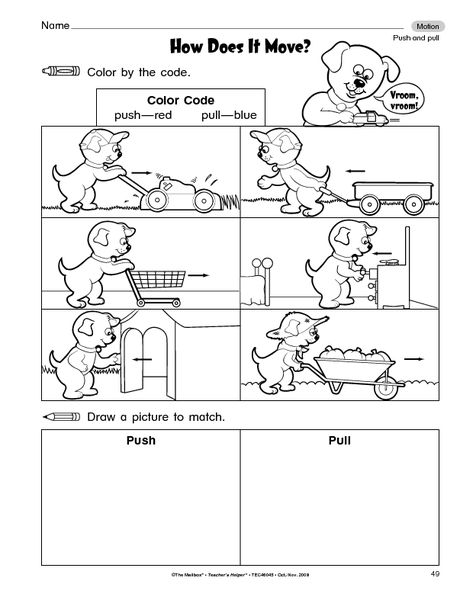 worksheet how does it move Push and Pull Pinterest