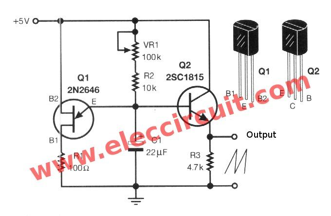 Sawtooth wave generator circuit using UJT - ElecCircuit com