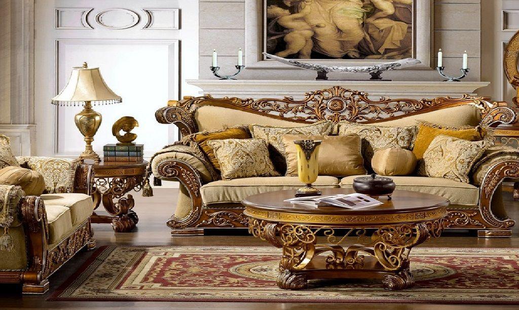 Fabric Sofa Sets with Wood Trim Fabric