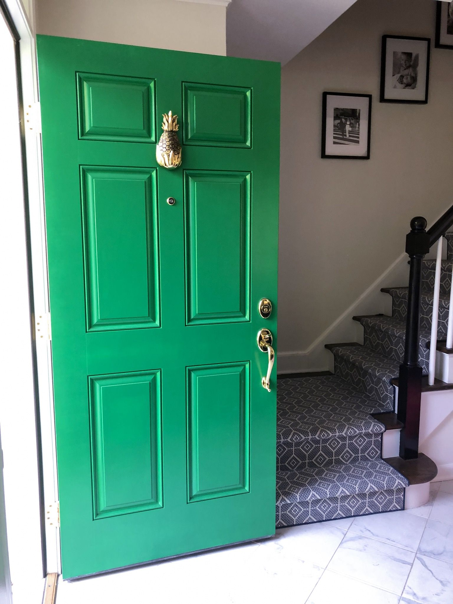 Kelly Green Front Door By The Home Restyle Green Front Doors Front Door Porch Design