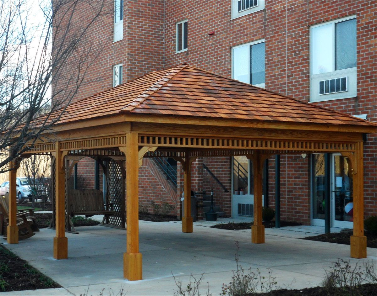 Cedar Pavilion Gazebo Shown With No Railings 6 Posts
