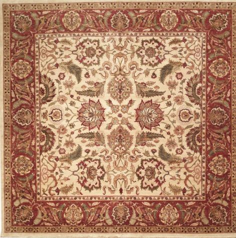 NEW CONTEMPORARY PERSIAN SULTANABAD AREA RUG 44950 - AREA RUG This beautiful Handmade Knotted Square rug is approximately 9 x 10 New Contemporary area rug from our large collection of handmade area rugs with Persian Sultanabad style from India with Wool