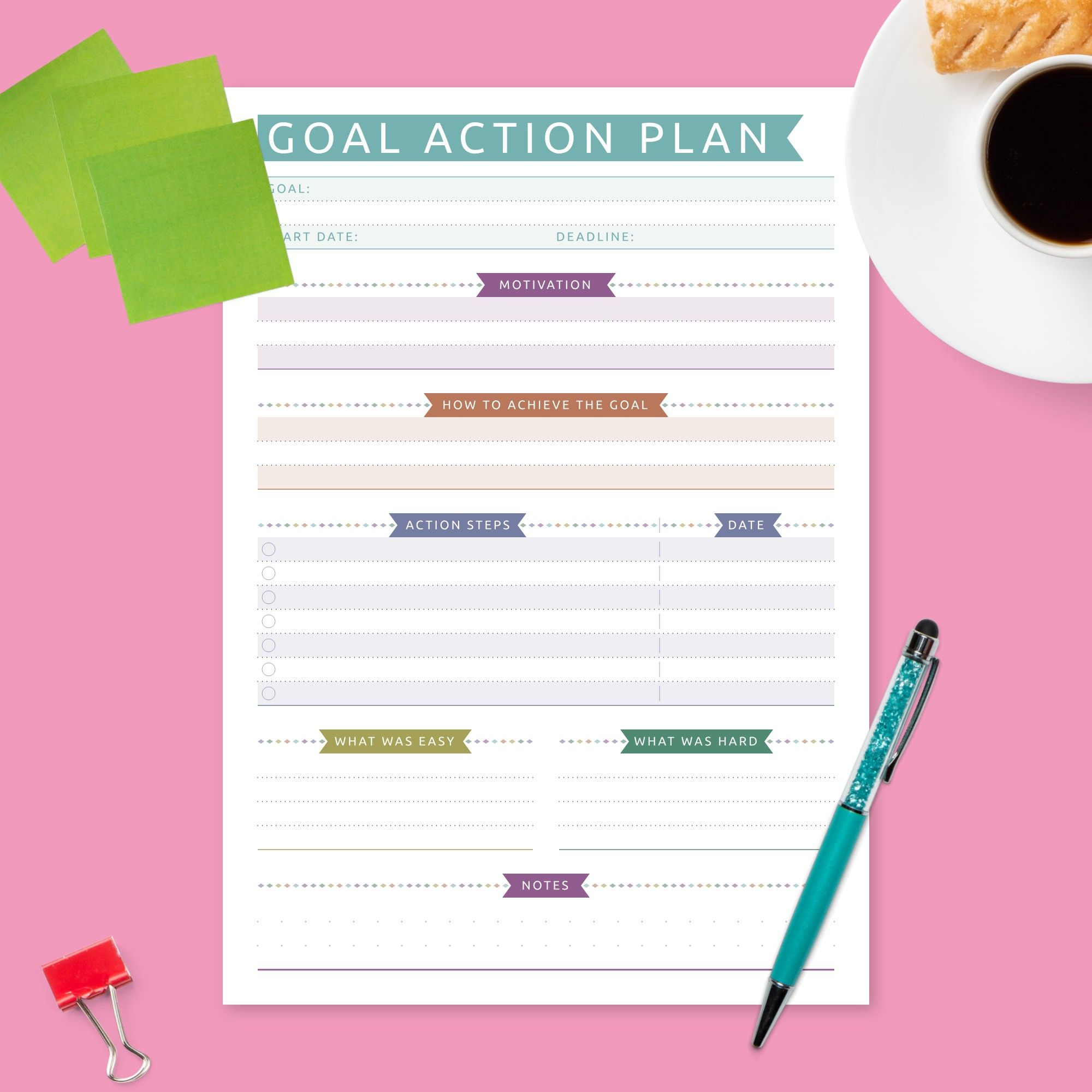 Use Goal Setting Template With Colored Design To Create A User Friendly Action Plan To Attain Your G Online Card Maker Personalized Greeting Cards Planner Gift