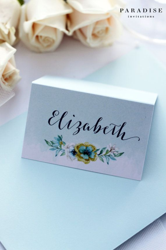 printable wedding place cards vintage%0A Place Cards  Mint and Gold  Watercolour Flowers  Name Cards  Premium  Cardboard