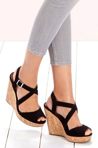 90e4293c0ce Black strappy platform wedges with a cork heel and peep toe