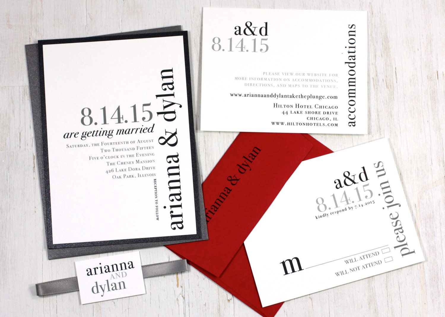 Urban Elegance - Modern Wedding Invitations - Black, White, Gray ...