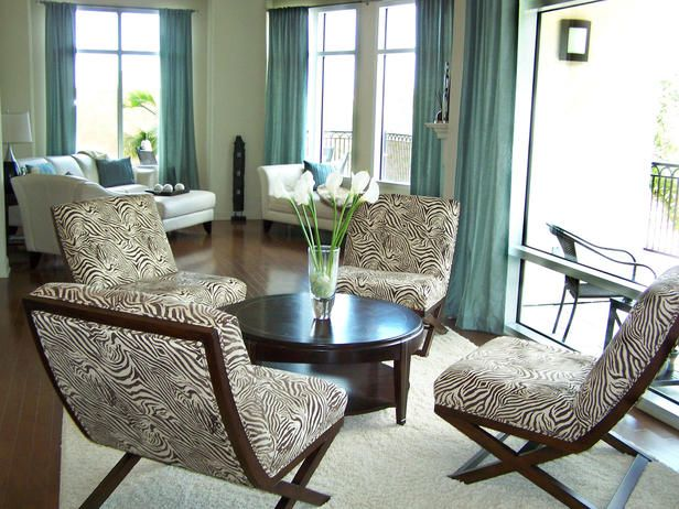 Aqua Curtains and Brown Zebra Upholstery Home office inspiration