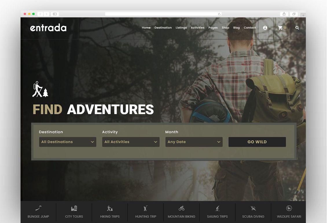 Entrada Tour Travel Booking WordPress Theme   WordPress theme, Adventure destinations, Tours