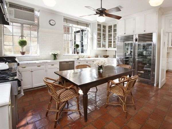 Terracotta Floor Tile Decorating Ideas Kitchen Decorating Ideas White Cabinets Solid Wood Table Saltillo
