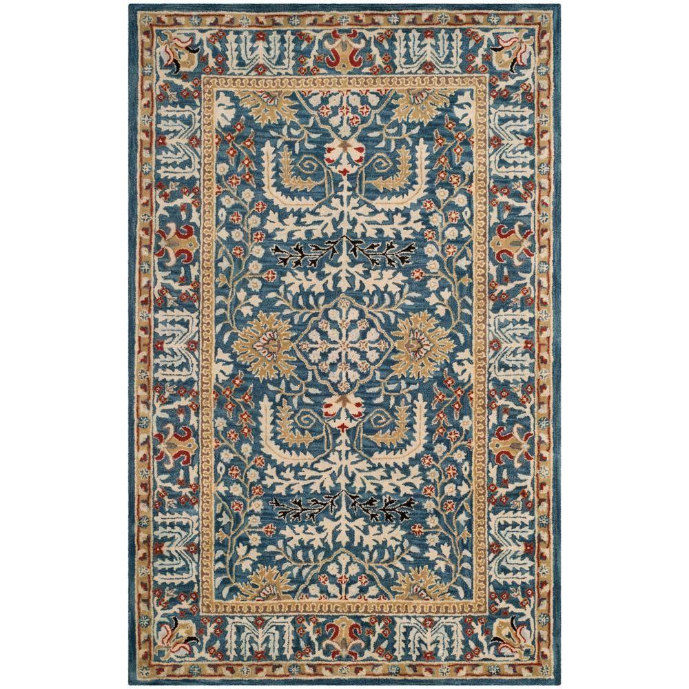 Best Safavieh Antiquity Dark Blue Multi 4 Ft X 6 Ft Area Rug 640 x 480