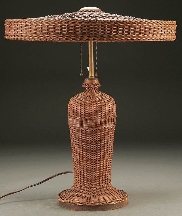 844 A Heywood Wakefield Vintage Wicker Table Lamp Ear Old Wicker Wicker Wicker Table