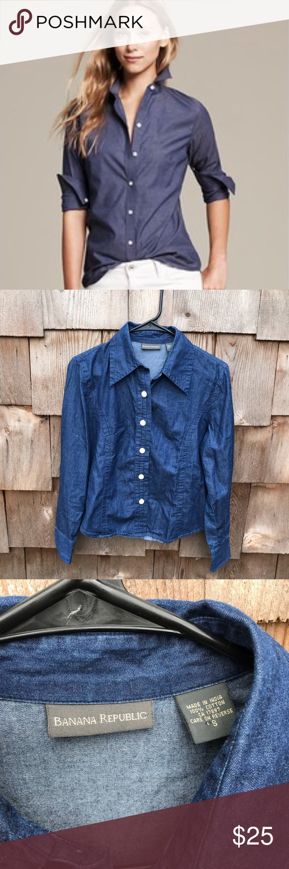 Banana Republic Dark Fitted Chambray Button Up Sm