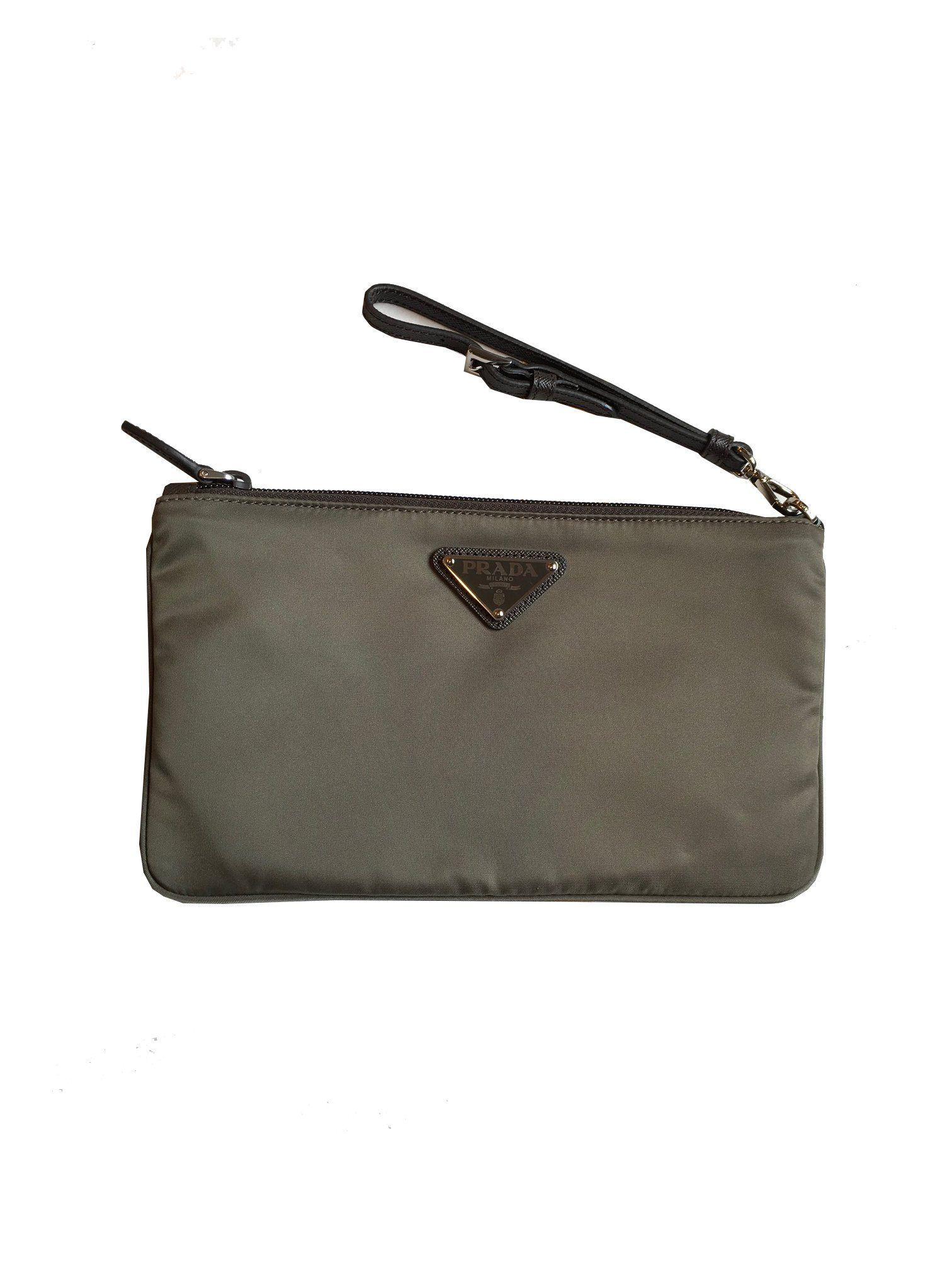 e4b32ca85ef053 Prada Women's Gray Nylon Cosmetic Case Clutch 1NH545 #Prada #Handbags  #Fendi #Luxury #Balenciaga #Gucci #QueenBeeofBeverlyHills #DesignerHandbags  #Fashion # ...