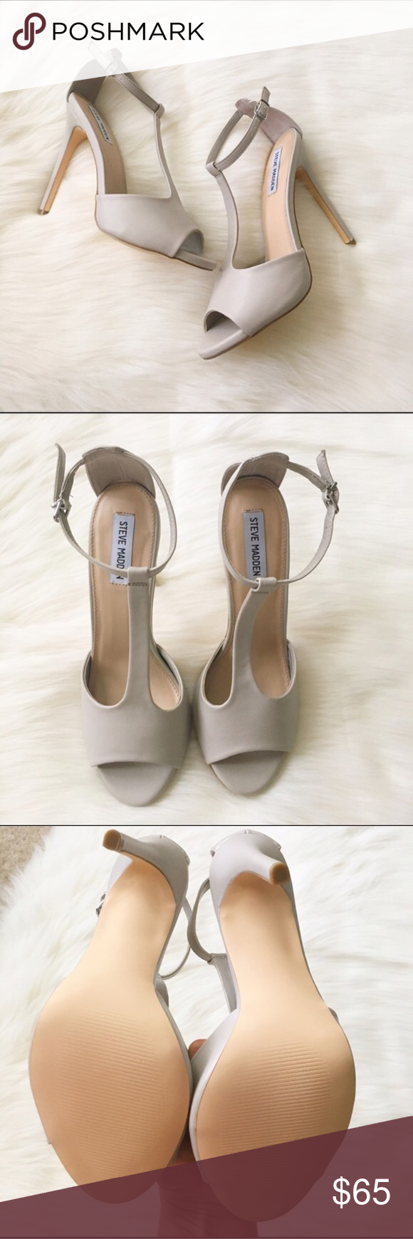 """Steve Madden Socialyt T-Strap Sandals NWT - perfect condition! Gorgeous Steve Madden nude peep toe T-Strap wedges. 5"""" height. Pretty bone/light gray leather color. No modeling/trades. Steve Madden Shoes Heels"""