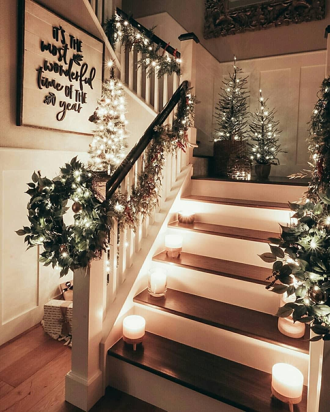 Vintagefarmhouseloving On Instagram Who Is Already Missing Christmas This House Is Just Beautifu Christmas Staircase Holiday Decor Christmas Decorations