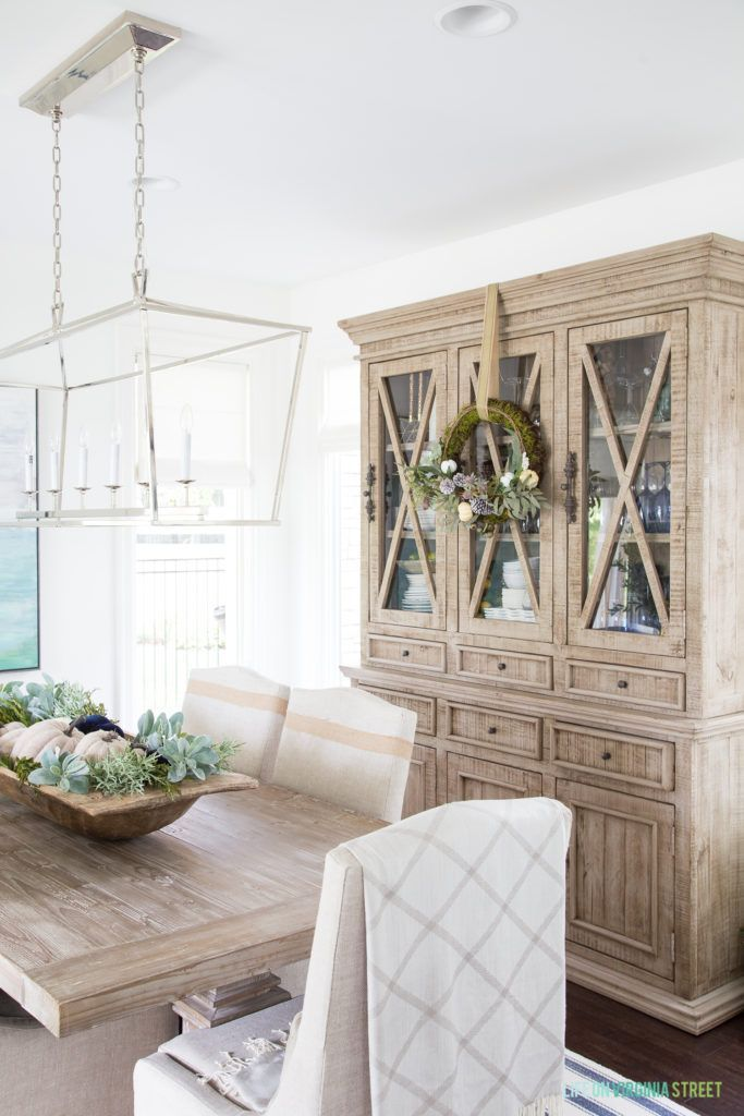 Gorgeous dining room area with white  green pumpkin for  centerpiece loving the darla also best images in rh pinterest