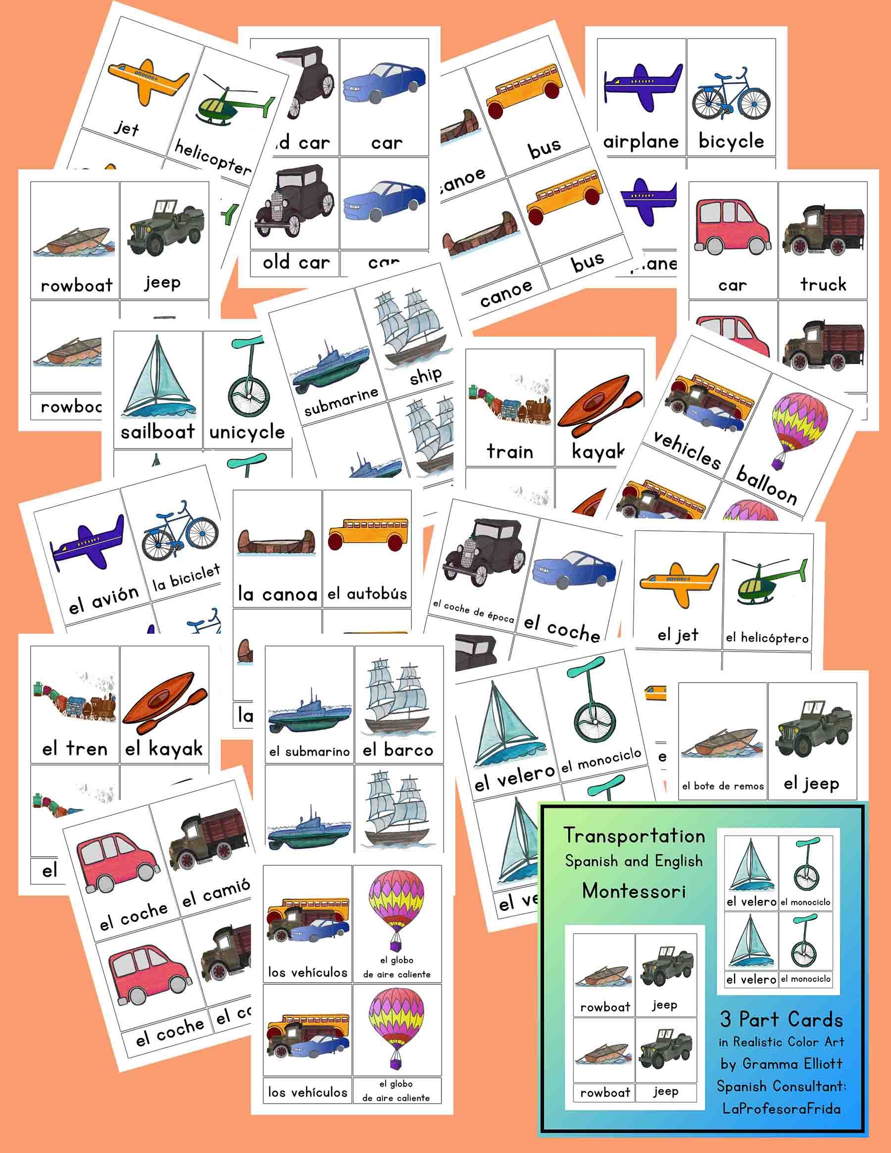 Transportation Word Picture Matching 3 Part Cards In