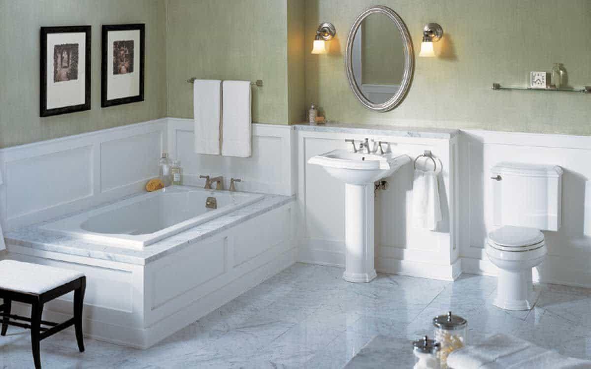 Bathroom Wainscoting Is Decorative And Protect The Walls In 2020 Bathroom Remodel Master Simple Bathroom Marble Bathroom Floor