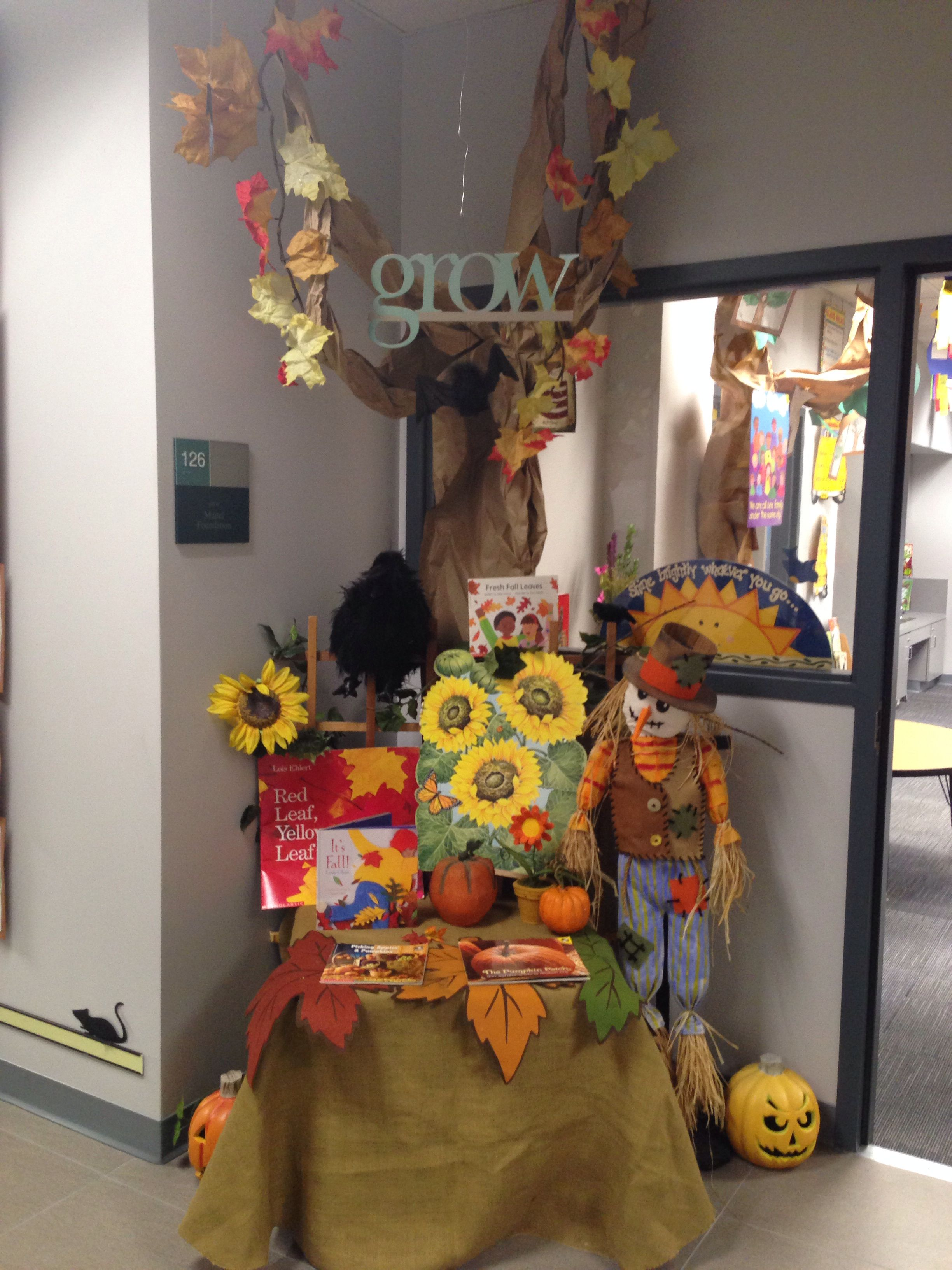 Outside the door to the entrance of our school's classroom. We're ready for fall