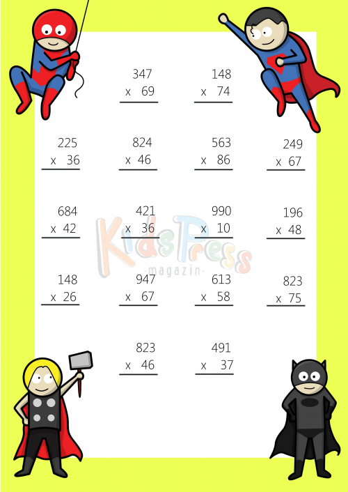 3 Digit by 2 Digit Multiplication Worksheet 1 – 3 Digit Multiplication Worksheet