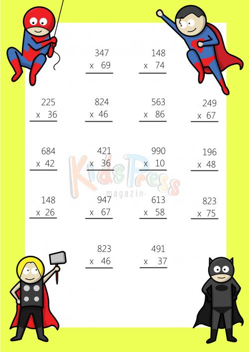3 Digit by 2 Digit Multiplication Worksheet -#1 | Multiplication ...