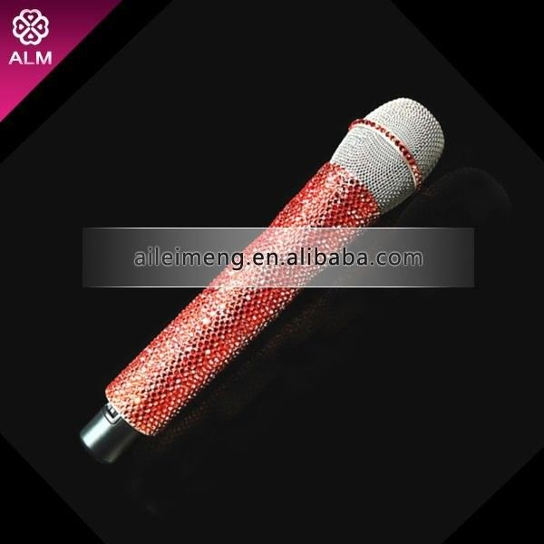 Rhinestone microphone with swarovski ❤ liked on Polyvore featuring music