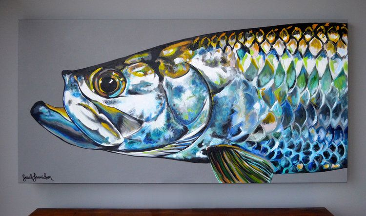 Tarpon 48 X 24 Acrylic Painting On Canvas Available Metal Art Techniques Fish Artwork Fish Art
