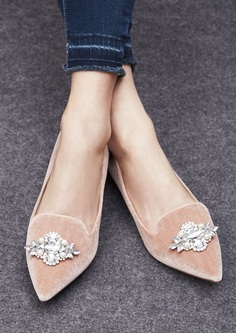 Jeweled flats in pink velvet   Sole Society Libry