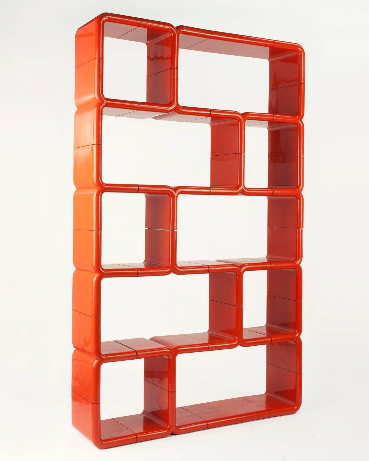 Orange Red Modular Plastic Umbo Bookshelf 4