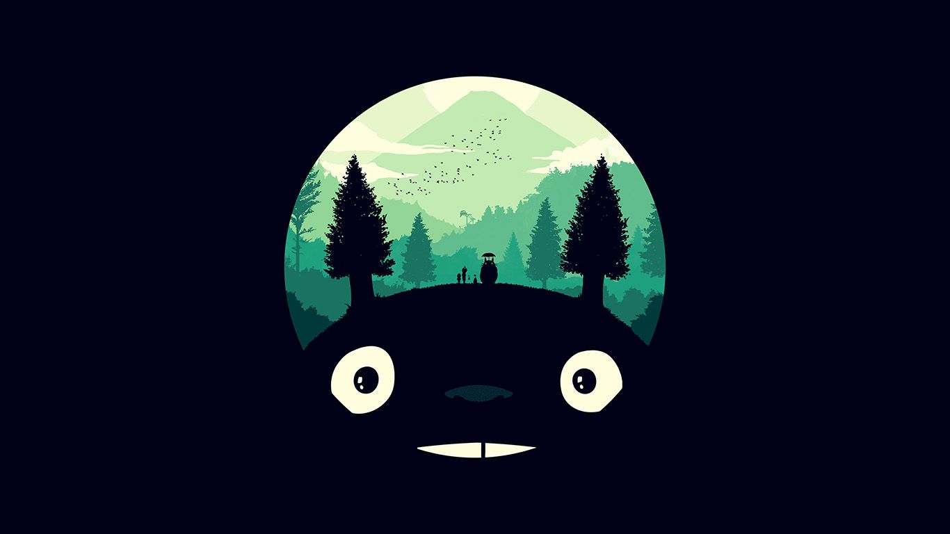 Ao38 Totoro Art Illust Simple Cute Dark Cute Desktop Wallpaper Totoro Art Desktop Wallpaper Art