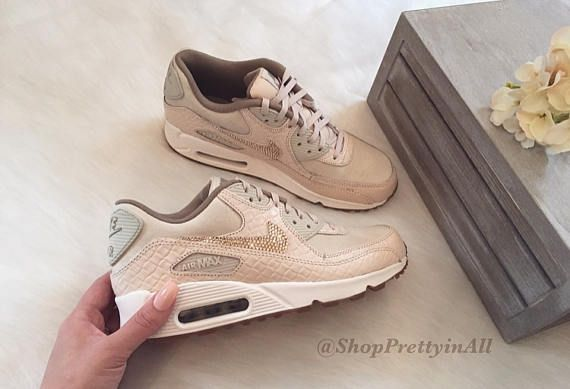 53992dedb6f7c Bling Nike Air Max 90 Oatmeal Shoes with Rose Gold Swarovski ...