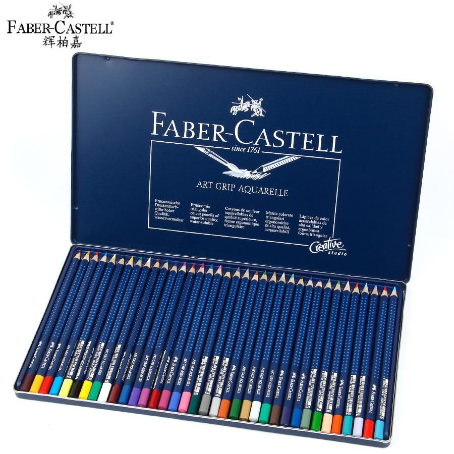 Faber Castell 12 24 36 Colors Water Soluble Colored Pencils Blue