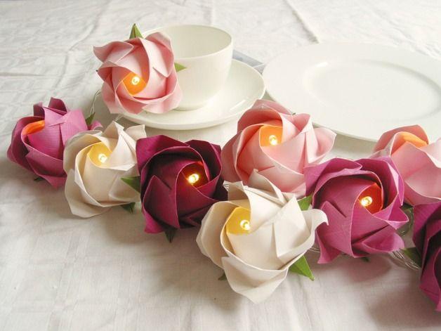 lichterketten mit gro en rosen in altrosa als tischdeko djk deko f r vereinsfest jubil en. Black Bedroom Furniture Sets. Home Design Ideas